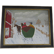 Naive Painting Framed Red Barn Snow Scene Horse and Carriage