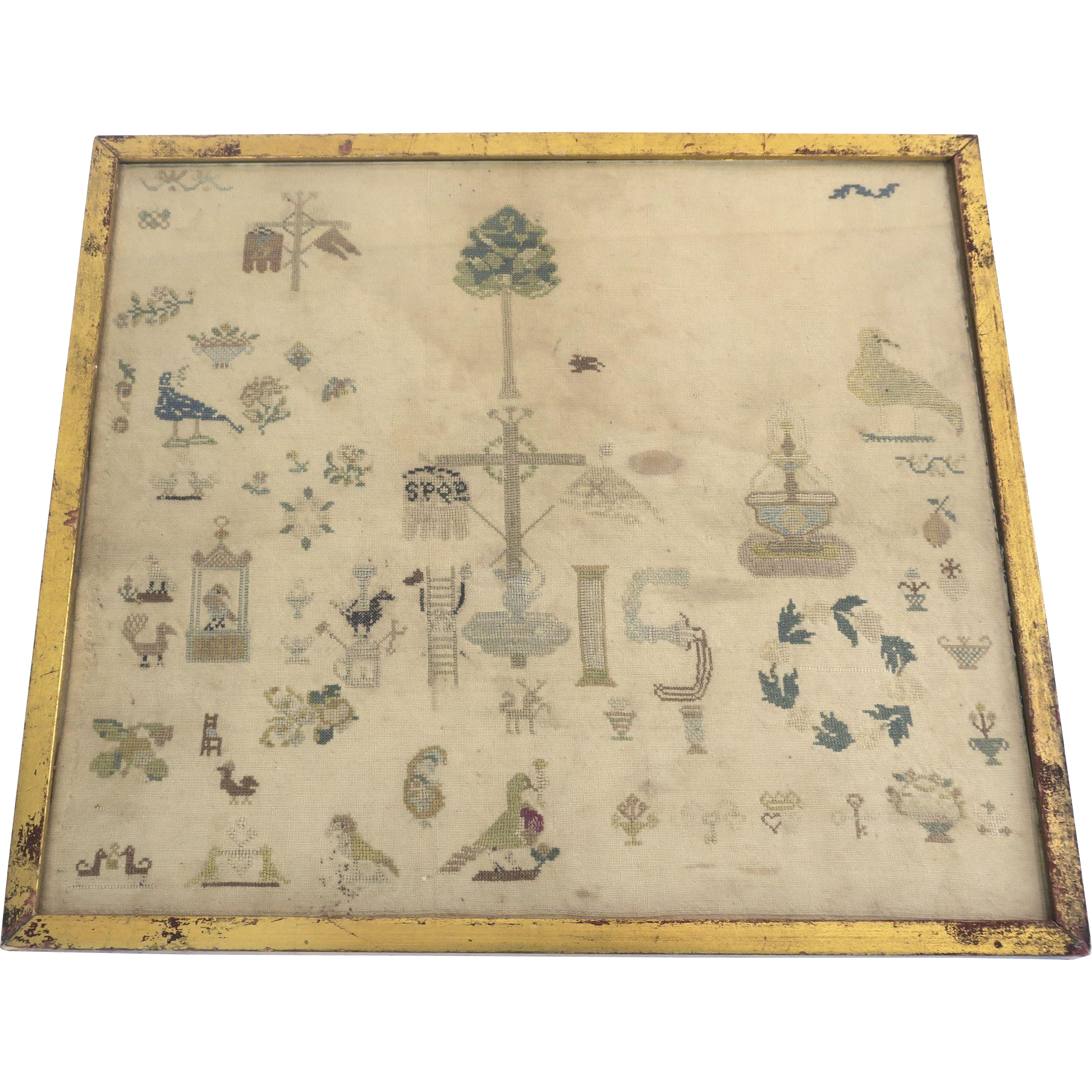 American Sampler Gilt Frame Circa 1800's