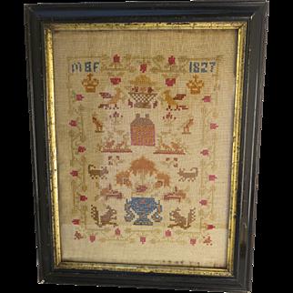 Cross Stitch Sampler American Early 19th Century