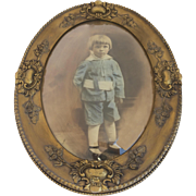 Late 19th Century Child's Portrait Hand-Tinted Photograph Oval Gilt Frame