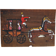 Large Mid Century Old Wood Horse Stagecoach Painting Reclaimed Board