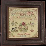Vintage Cross Stitch Sampler Dated 1996 Alphabet Cat Roses Bird Butterflies