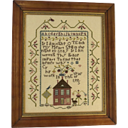 Vintage Cross Stitch Sampler Dated 1995 House Alphabet Bird Americana Country