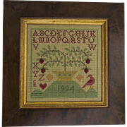 Vintage Cross Stitch Sampler Dated 1994 House Alphabet Bird Americana Country