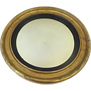 19th Century American Round Bull's Eye Convex Mirror with Black Bezel