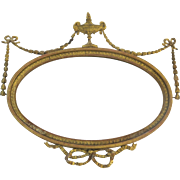19th Century English Neo-Classical Oval Mirror Beveled