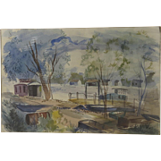 Watercolor by Georgia Dearborn, American 20th Century Boats