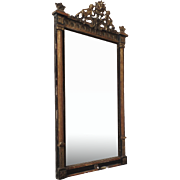 Late 19th Century Gilt Painted Mirror Crest with Angels Putti Cherub