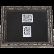 Two Vintage Silver Plaques by Boris Schatz Scribe & Man Blowing Shofar Judaica
