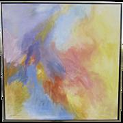 Vintage Modern Oil on Canvas Painting Pastel Colors by Christa Rewan Denver Colorado