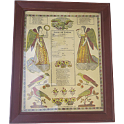 Pennsylvania German Printed German Fraktur Birth and Baptism Certificate, 1828
