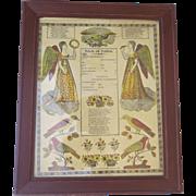 Pennsylvania German Printed German Fraktur Birth and Baptism Certificate, 1828