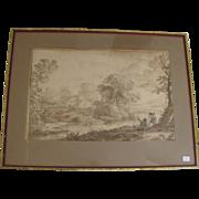 17th Century Landscape Ink Wash