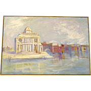 Mixed Media Painting of Venice by Phyllis Montrose Hutchingson circa 1970