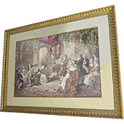 19th Century Framed Watercolor depicting the Court of Marie Antoinette