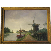 1940's Oil on Canvas of a Dutch Scene by G.V.D Bos