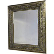 English Large Brass Repousse Mirror c 1860