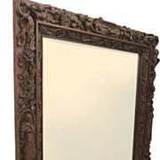 Monumental Walnut Carved Italian Mirror