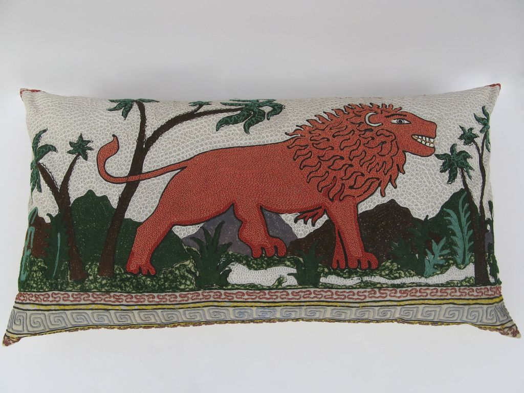 Very Large Custom Pillow Made from Textile Hook Stitch Hangings Lion