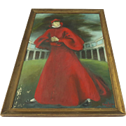 Large Painting on Board of a Cardinal Signed and Dated 1947