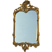 19th Century English Carved Gilt Rococo Mirror.