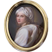 Small Framed Berlin Plaque Beatrice Cenci after Guido Reni