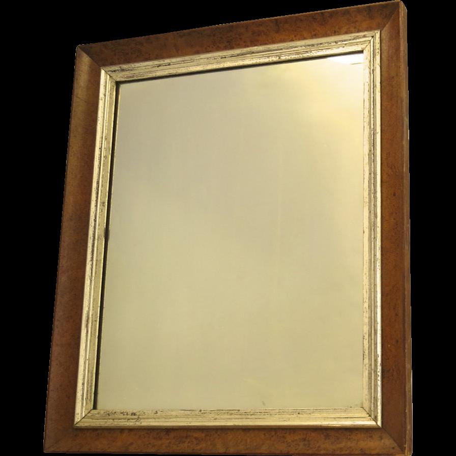 Bird 39 s eye maple framed mirror with silver leaf slip c for Silver framed mirror
