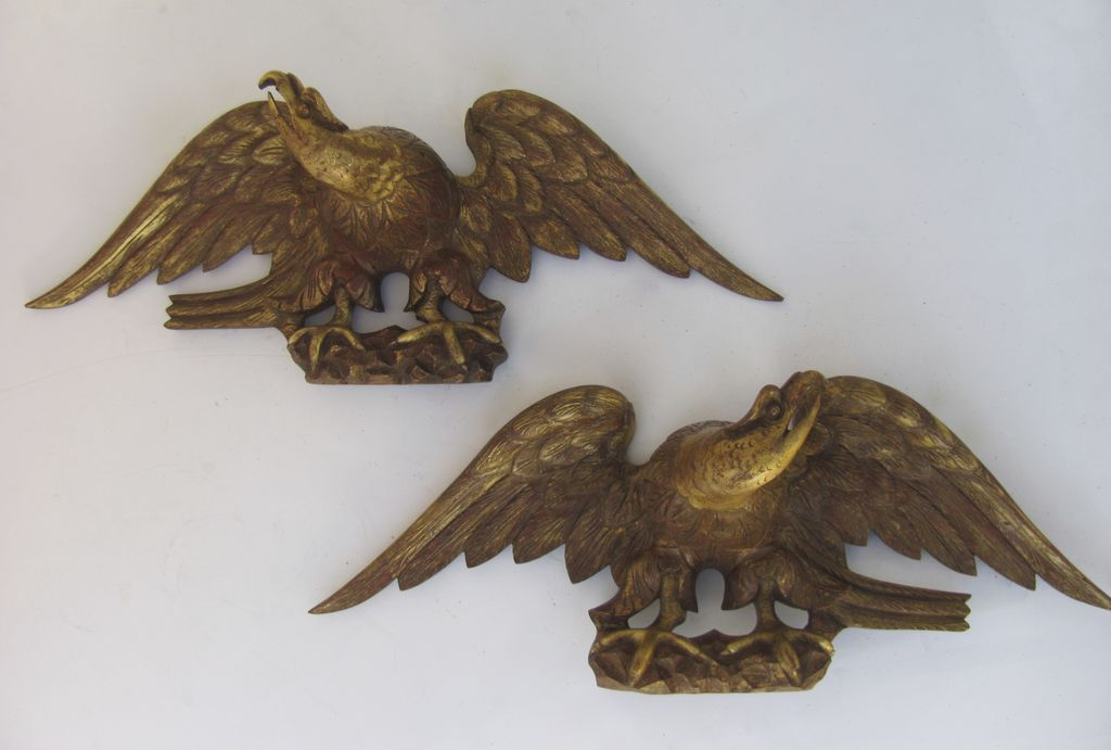Pair of Carved Gilt and Painted Eagles