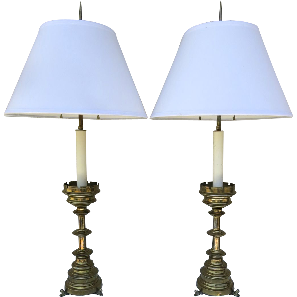Pair of English Neo-Gothic Candlesticks now as Lamps