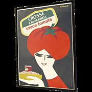"Original Vintage Poster Crosse & Blackwell Tomato Ketchup Bernard Villemot 47"" by 68"""