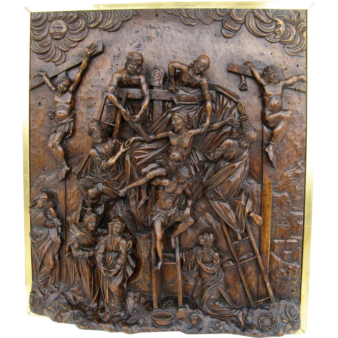 Wonderful Walnut High Relief Carving Showing the Deposition of Christ from the Cross