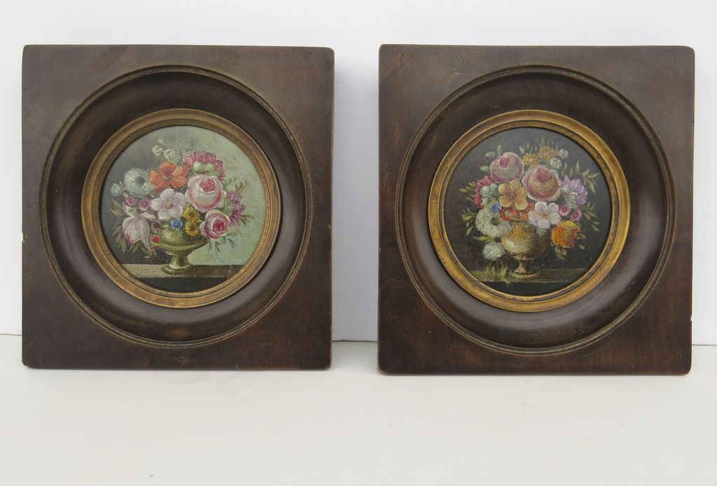 Pair of Miniature Painting Bouquet in the style of 16th Century Dutch Flower Still Life