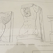 Architectural Engraving by Kelsall  Pompeii  Altar in the Temple of Asclepius