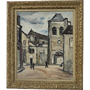 "1930s French Painting ""Eglise de St Satur"" by Bernard Lamotte Oil on Canvas"