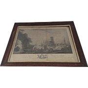 Framed French 19th Century Engraving Silver Frame Slip
