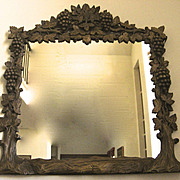 Great Carved Mirror with Grape Leaf and Tree Motif