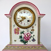 French Clock with Majolica Glaze Case by Gien