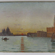 Oil on Canvas Venice by E.A. Deslandes Venice