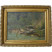 Oil on Board Stream Signed and Dated 1896