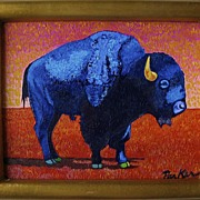 Acrylic Painting by David Parker Blue Buffalo