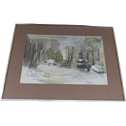 Winter Landscape Acrylic Painting / Watercolor / Gouache / Oil / Impressionist / Mid Century