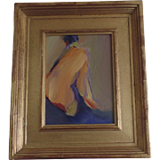 "Nude by Susan Behrendt ""Turned Head"" Oil on Board Gilt Frame"