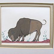 Vintage Pueblo Buffalo Painting Tempra