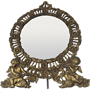 Victorian 19th Century Cast Iron Table Vanity Mirror with Cherub Putti Angel Motif Easel Back