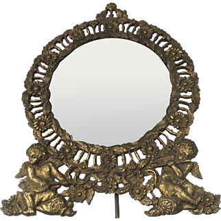 Victorian 19th Century Cast Iron Table Vanity Mirror with Cherub Putti Angel Motif Easel Back Playing Instruments Flute