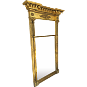 "Very Large Monumental 19th Century Gilt Mirror 66"" Tall Acorn Finials"