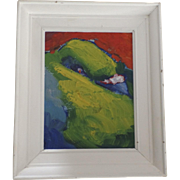 "Oil on Board by Christopher Griffin Canada 1992 ""Green Bird"