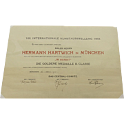 1905 International Kunstausstellung Original Award Certificate Artist Hermann Herman Hartwich