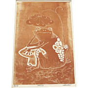 Vintage 1970's Etching Frog Lily Pad Mushroom Signed Numbered