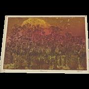 Vintage Etching Signed Numbered 1970's Flowers Original Art